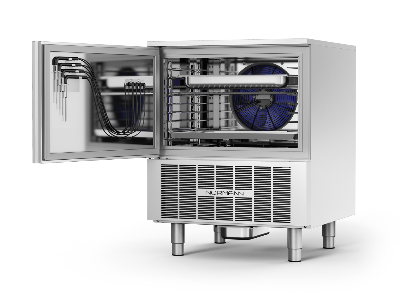 Normann Nortech GN trays 1/1 and EN 60x40 on a single, variable-capacity support.